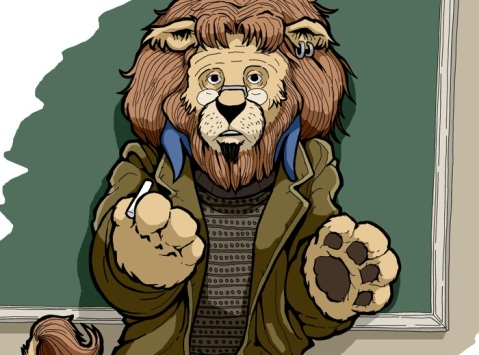 This is the Lion in Tweed.  He's a lion who teaches economics.