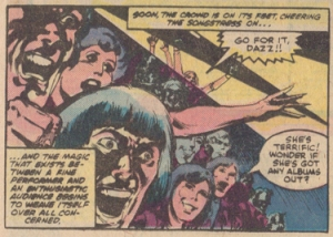 The fans react to Dazzler's singing - from Dazzler #7 (August 1981), by DeFalco, Fingeroth & Springer