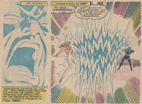 Black Bolt's scream converted into light - From Dazzler #19 (Sept 1982), by Fingeroth & Springer