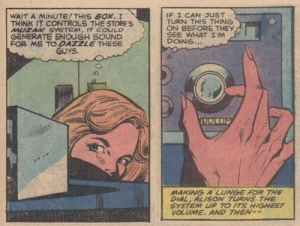 Allison turns up the muzak to power her ability.  From Dazzler #8 (Oct 1981) by DeFalco, Fingeroth, Springer & Coletta