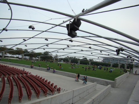 Frank Gehry-designed sound system at the Pritzker Music Pavilion in Millennium Park, Chicago, Image by Flickr User anita 363