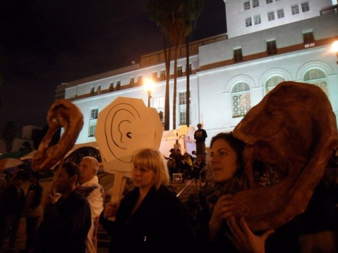 Members and collaborators of ARLA (Paula Cronan, Juliana Snapper, and Elana Mann) participating in a General Assembly at Occupy LA City Hall, November 11, 2011