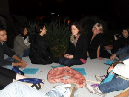 ARLA Ear Strengthening Workshop, Occupy LA site, November 11, 2011, Photo by Carol Cheh