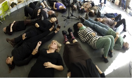 Members of People's Microphony Camerata rehearsing in Los Angeles, April 15, 2012, Photo by Jean-Paul Leonard