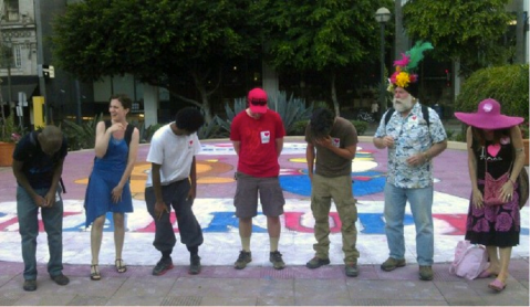 "The PMC performing ""Sob  Laugh"" at the ""Chalkupy"" protest in downtown Los Angeles, Image by Daniel Goode"