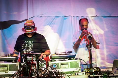 Daniel Carter on horn during Overcast Radio's set, Photo courtesy of Raymond Angelo (c)