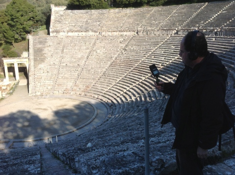 David Hendy Recording at Epidaurus, Image by Matt Thompson/Rockethouse Productions, taken on location