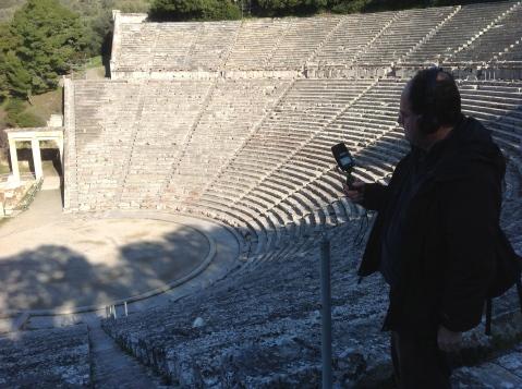 David Hendy Recording at Epidaurus, Image by Matt Thompson/Rockethouse Productions, taken on location