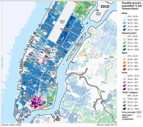 Manhattan below 110th Street in 2010, courtesy of the Center for Urban Research, CUNY Graduate Center