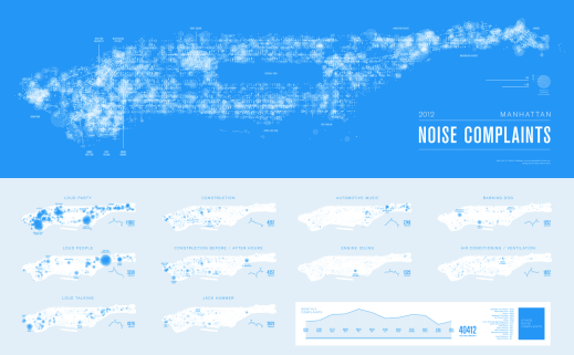 Screen Capture of  Karl Sluis's 2012 Manhattan Noise Complaints maps (click for interactive image)
