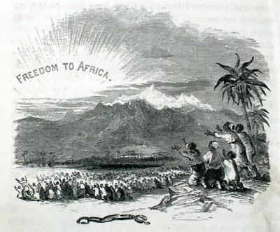 Freedom to Africa. Headpiece illustration by Hammat Billings for Uncle Tom's Cabin; or, Life Among the Lowly, by Harriet Beecher Stowe. Illustrated Edition. Original Designs by Billings; Engraved by Baker and Smith. (Boston: John P. Jewett and Company, 1853). Courtsey of Clifton Waller Barrett Collection, University of Virginia