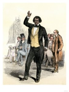 Image of Fredrick Douglass speaking in England regarding his experiences as an American slave