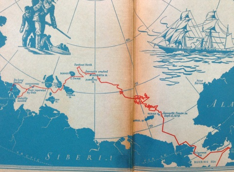 The voyage of the Jeanette as depicted on the endpaper of the 1938 edition of Hell on Ice that Welles probably read.