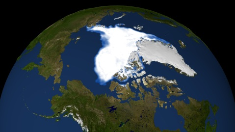 A NASA map of sea ice at the North Pole in September 2007
