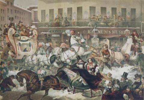 "Thomas Benecke's lithograph ""Sleighing in New York"" from 1855, which shows musicians performing on the balcony of Barnum's Museum on the corner of Broadway and Ann Street."