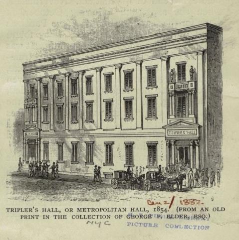 Metropolitan Hall in New York City, where concert singer Elizabeth Taylor Greenfield debuted in 1853.