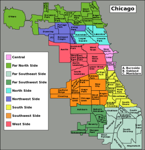 """Chicago community areas map"" by Wikimedia user Peterfitzgerald, CC BY-SA 3.0"