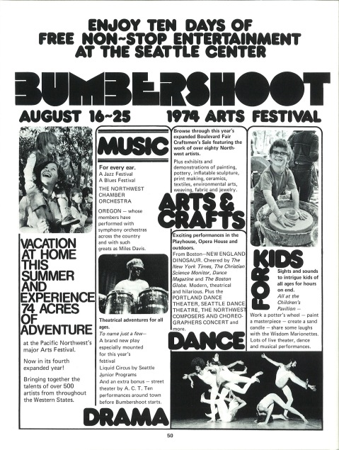 """Bumbershoot ad, 1974"" by Flickr user Seattle Municipal Archives, CC BY 2.0"