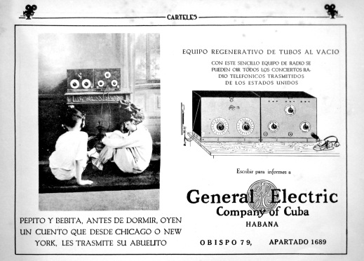 "General Electric Ad. ""Before going to sleep, Pepito and Bebita listen to a story transmitted by their grandfather, from New York or Chicago."" ""Carteles,"" January 1923."