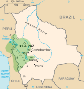 Geographic Distribution of the Aymara language, public domain
