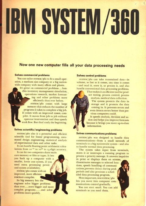 An advertisement for the IBM 360. Borrowed from Wikimedia Commons.