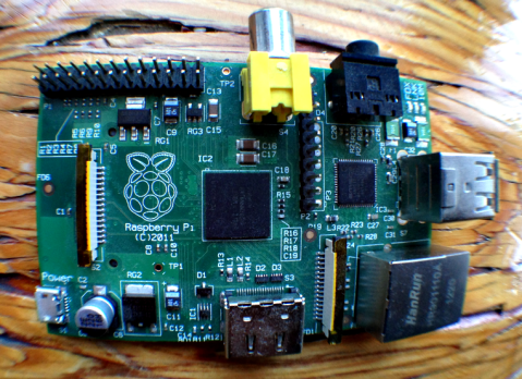 An image of the inexpensive open-source computer: The Rasberry PI