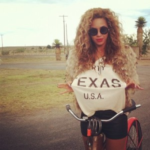 "From Wildfox Couture, Beyonce in a ""Property of Texas"" v-neck tee"