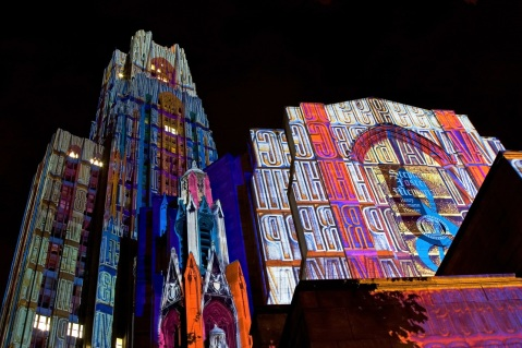 """Cathedral of learning/Stephen Foster Memorial - Painted by Light"" by Flickr user Sriram Bala, CC BY-NC 2.0"
