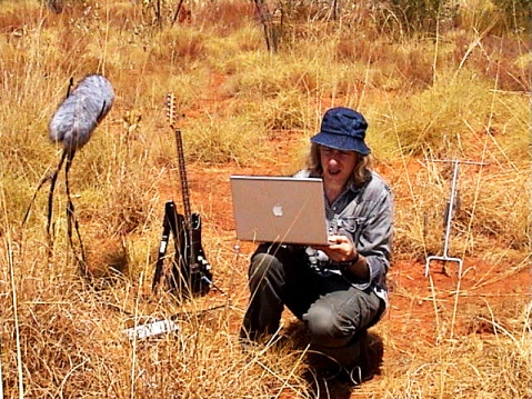Figure Three: The author conducting field recordings at the edge of the Great Sandy Desert in Australia, 2006.