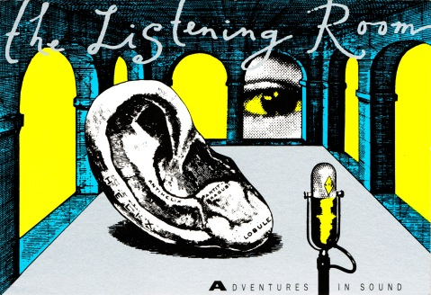 Figure Two: The Listening Room, program logo postcard designed by Antart (c 1990).