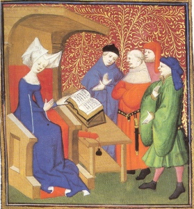 """Christine de Pisan - cathedra"" by From compendium of Christine de Pizan's works, 1413. Produced in her scriptorium in Paris - http://bcm.bc.edu/issues/winter_2010/endnotes/an-educated-lady.html. Licensed under Public Domain via Wikimedia Commons"