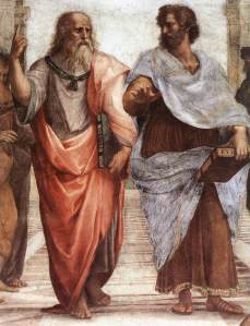 """Sanzio 01 Plato Aristotle"" by Raphael - Web Gallery of Art:   Image  Info about artwork. Licensed under Public Domain via Wikimedia Commons"