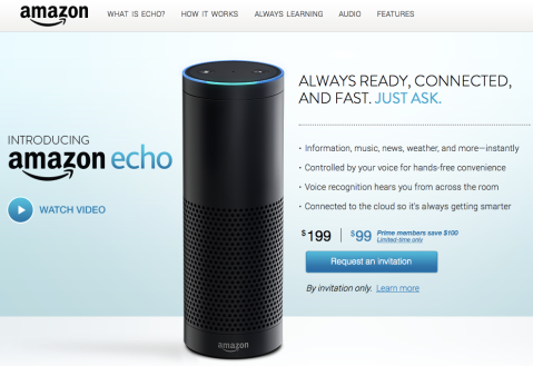 Screen shot of Amazon's page for Echo
