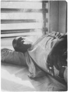 """Lightnin' Washington, an African American prisoner, in the prison hospital at Darrington State Farm, Texas"" by Alan Lomax."