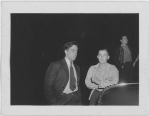 Alan Lomax (left) with Richard Queen of Soco Junior Square Dance Team at the Mountain Music Festival, Asheville, North Carolina; via the Library of Congress Lomax Collection