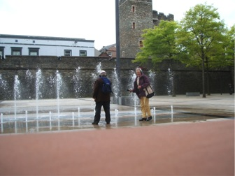 Participants recording water feature, Photo by author