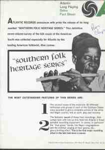 "Sales Fact Sheet for Atlantic's ""Southern Folk Heritage Series"""