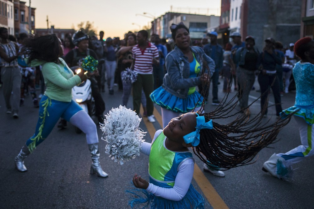 Protestors dance to a community band, Baltimore, MD, 28 April 2015, Photo by Adrees Latif/Reuters