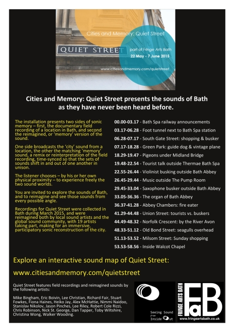 Poster-3-small-724x1024 Visit the physical installation of Quiet Street  at Fringe Arts Bath Festival,                                         22 May 2015 - 7 June 2015 at 8/9 New Bond Street Place, Bath