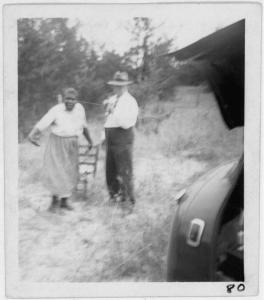 "Aunt Harriet McClintock, dancing for John A. Lomax as she sang ""Shing, Shing,"" at the crossroads near Sumterville, Ala., 1940, Courtesy of the Library of Congress"