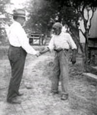 John Lomax and Uncle Rich Brown at the home of Julia Killingsworth near Sumterville, Ala., Oct. 1940,  Courtesy of the Library of Congress