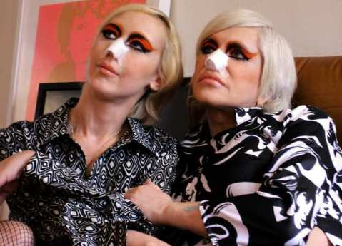 Lady Jaye Breyer P-Orridge on the left and Genesis P-Orridge on the right. Photo from the documentary movie,