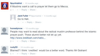 Screencapture of comments underneath a CBS.com broadcast about the Duke adnan, DATE