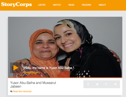 Click on image to hear Story Corps interview
