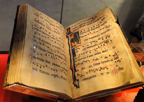 An illuminated music manuscript. Image by Richard White @Flickr CC BY-NC-SA.