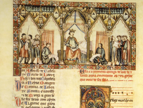 A depiction of Alfonso's scriptorium.