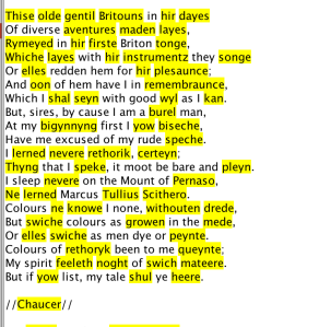 Chaucer for SPARSER. Image used with permission by the author.