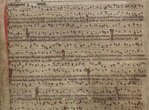 """Stabat Iuxta Christi Crucem."" London, British Library MS Arundel 248, f. 154v."