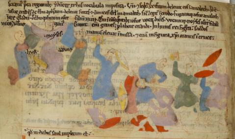 'Amalek Attacks Israel and Is Defeated', in the Old English Hexateuch, British Library, MS Cotton Claudius B IV