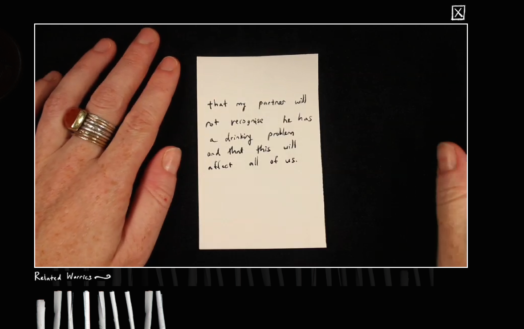 """SO! Screen Capture of Irene Lustzig's """"The Worry  Project"""""""